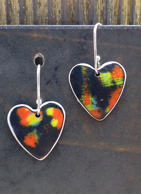 "SHE - 3/4"" Single Hearts with 5/8"" Sterling Earwires :  : Peggy Petrey Abstract Wares Jewelry"