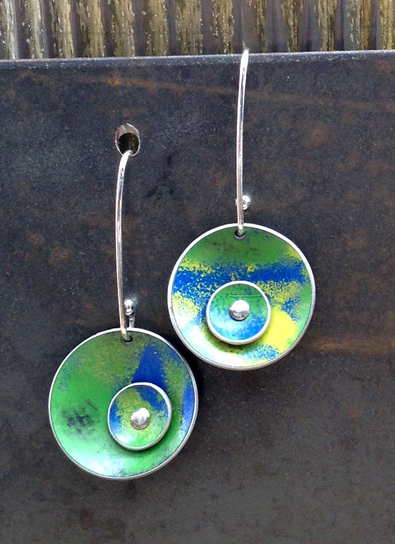 "3/4"" Medium Double Domes with 1"" Sterling Earwires  :  : Peggy Petrey Abstract Wares Jewelry"